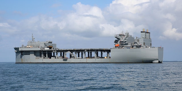 The Military Sealift Command expeditionary sea base USNS Hershel 'Woody' Williams (ESB 4) is at anchor in the Chesapeake Bay, Sept. 15, 2019 during mine countermeasure equipment testing. (U.S. Navy photo by Bill Mesta/Released)