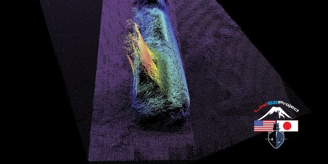 Sonar Image of USS Stickleback's forward hull section.