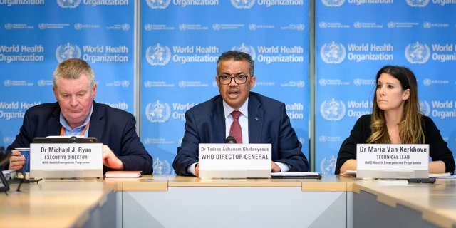 Health Emergencies Programme Director Michael Ryan, WHO Director-General Tedros Adhanom Ghebreyesus, and WHO Technical Lead Maria Van Kerkhove brief the press on COVID-19 at WHO headquarters in Geneva on March 6.