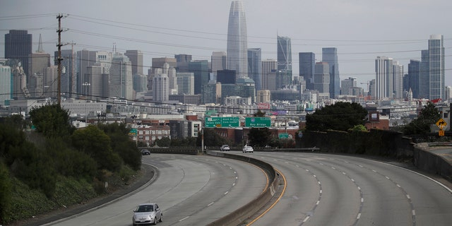 Light traffic is seen on Highway 101 in San Francisco, Sunday, March 29, 2020, amid coronavirus concerns.