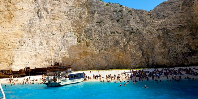 The popular beach of Navagio, or Shipwreck Beach, on the western island of Zakynthos, Greece, in a 2017 file photo. (AP Photo/Petros Karadjias)