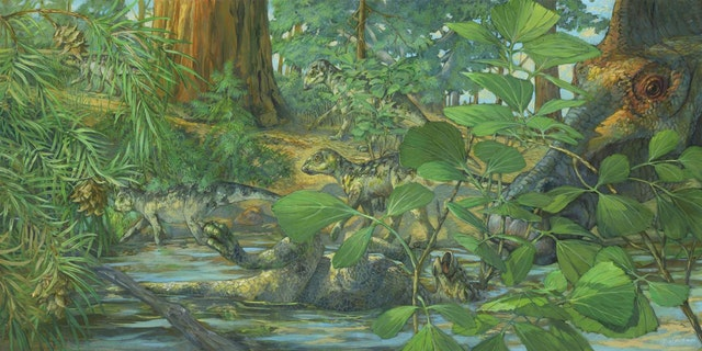 Reconstruction of the nesting ground of Hypacrosaurus stebingeri from the Two Medicine formation of Montana. In the center can be seen a deceased Hypacrosaurus nestling with the back of its skull embedded in shallow waters. A mourning adult is portrayed on the right. (Credit: Michael Rothman, Science China Press)