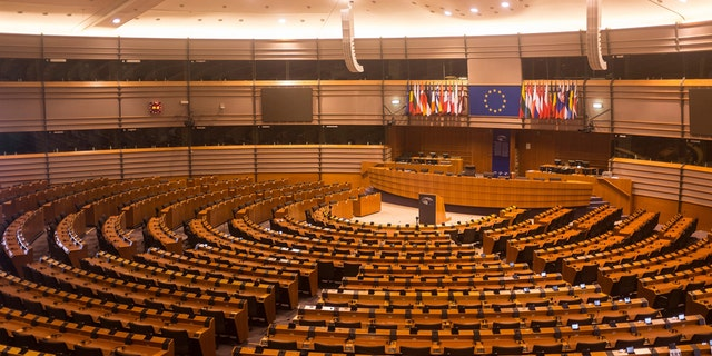 Brussels, Belgium - July 23, 2015: The Parliamentary hemicycle of Espace Léopold as it is open for visitors on July 23, 2015 in Brussels. The parliamental buildings can be visited for free.