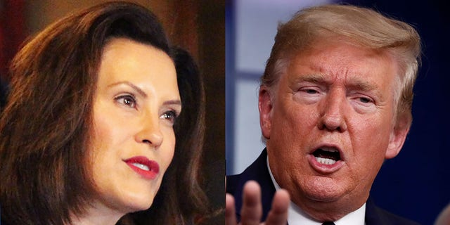 Michigan Gov. Gretchen Whitmer had some harsh words for President Trump on Thursday -- and he fired back during a campaign rally in her state.