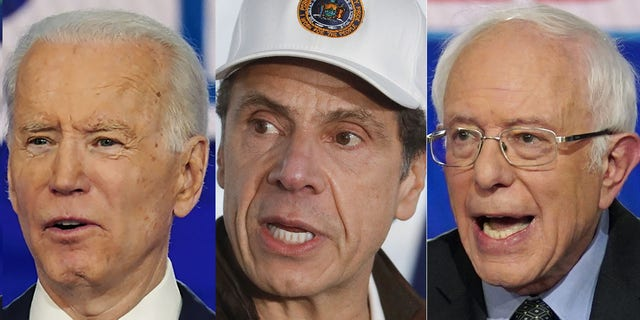 Presidential candidates Joe Biden, left, and Bernie Sanders, right, seemed to be facing new competition for the public's attention in New York Gov. Andrew Cuomo amid the coronavirus outbreak.