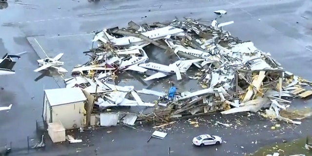 "John C. Tune Airport, Nashville International's sister airport in West Nashville, ""sustained significant damage due to severe weather."
