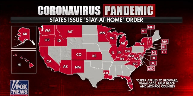 At least 33 states where governors have declared statewide orders or recommendations to stay home.