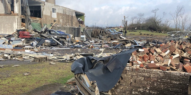 Damage outside the Old Tennessee State Prison after the tornado struck early Tuesday.