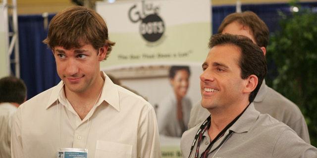 John Krasinski as Jim Halpert and Steve Carell as Michael Scott