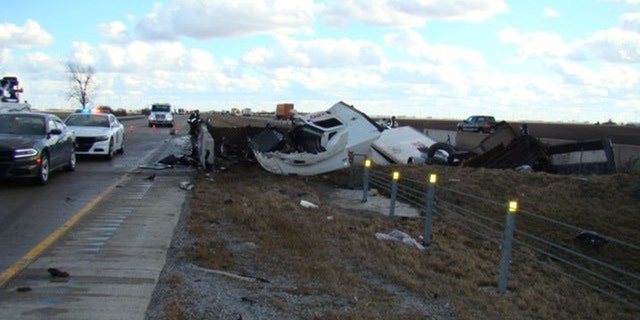 """Gusty winds sent a trailer """"airborne"""" on Tuesday, causing a series of crashes on Interstate 65 in Indiana."""