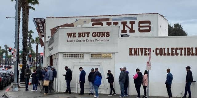 Gun store in Culver City, Calif., in the early days of the global pandemic lockdown.