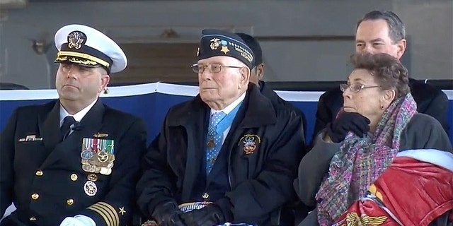 """Hershel """"Woody"""" Williams at Saturday's commissioning of a Navy ship in his name."""