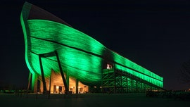 Noah's Ark replica lit up green to show support for fight against coronavirus in Kentucky