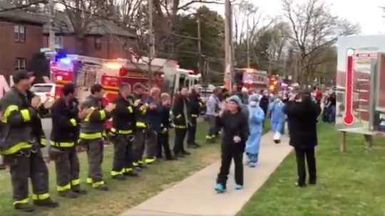 Firefighters salute health care workers on coronavirus front line in New York City