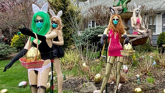 NJ man resurrects risqué Easter bunny lawn display