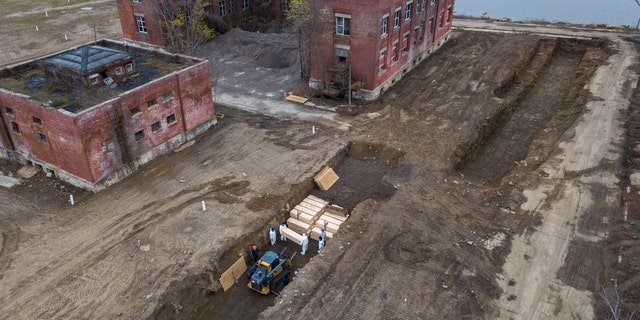 Drone pictures show bodies being buried on New York's Hart Island where the department of corrections is dealing with more burials overall, amid the coronavirus disease (COVID-19) outbreak in New York City, April 9.