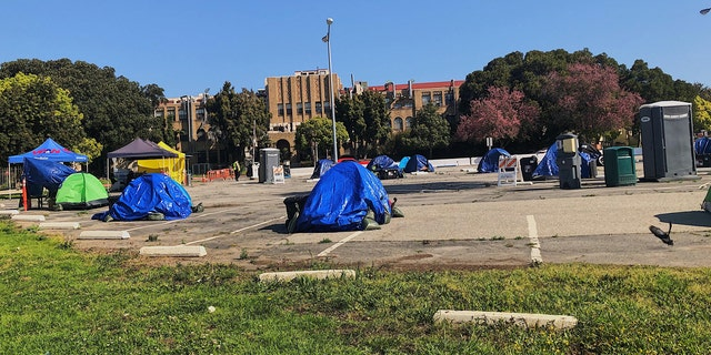 About 25 tents are currently up on the VA's land with the possibility that more will be added.