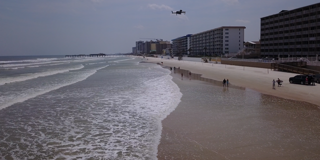 One of the drones owned by the Volusia County Sheriff's Office hovering over Daytona Beach in Florida (Chris Pontius, Fox News).