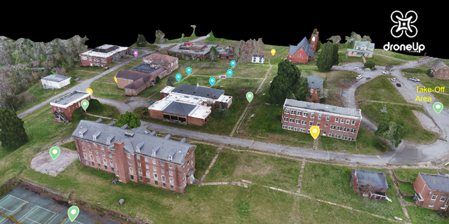 3D model of college campus where the drone missions took place (Credit: DroneUp)