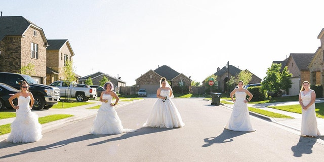A group of women in Texas recently rocked their wedding dresses once again for a socially-distanced photo shoot to lift spirits during the ongoing COVID-19 outbreak.