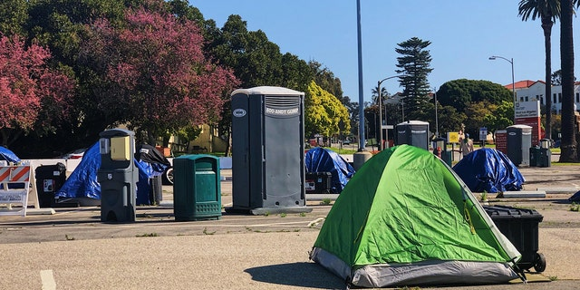 Toilets and handwashing stations are available for residents of the VA tent city.