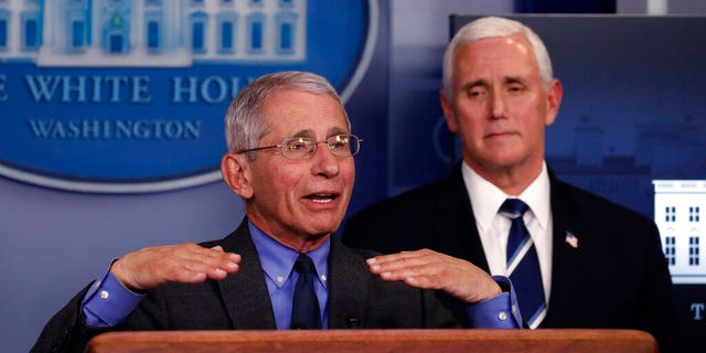 Dr. Anthony Fauci, director of the National Institute of Allergy and Infectious Diseases, speaks about the coronavirus in the James Brady Press Briefing Room of the White House, Tuesday, April 7, 2020, in Washington, as Vice President Mike Pence listens. (AP Photo/Alex Brandon)