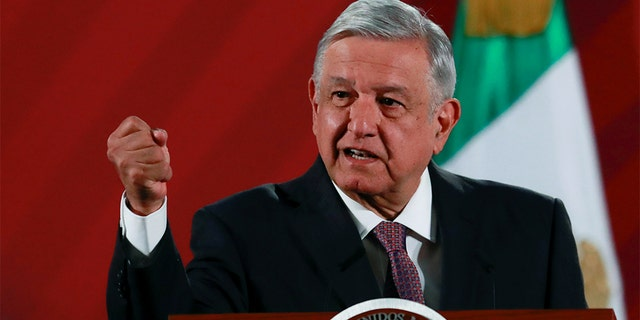 FILE: Mexico's President Andres Manuel Lopez Obrador speaks during a news conference at the National Palace in Mexico City, Mexico.