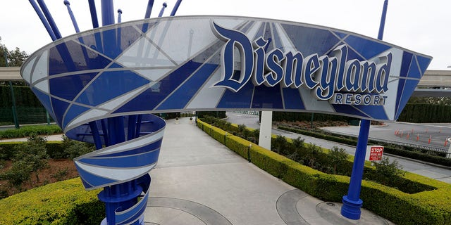 A Disneyland entrance is pictured in March 2020 after the park's first coronavirus closure. The park could reopen on April 1 if Orange County enters California's