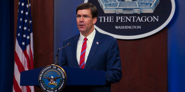 Defense Secretary Mark Esper discusses the department's response to the COVID-19 pandemic in a March news conference. (Army Staff Sgt. Nicole Mejia/Department of Defense via AP)