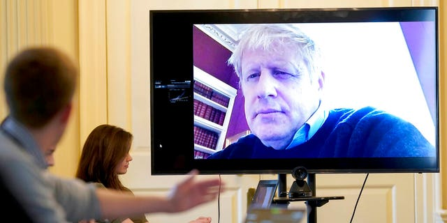 Saturday, March 28, 2020: Britain's Prime Minister Boris Johnson chairs the morning Covid-19 Meeting remotely after self-isolating after testing positive for the coronavirus, at 10 Downing Street, London. Johnson since then has been admitted to a hospital with the coronavirus. Johnson's office says he is being admitted for tests because he still has symptoms 10 days after testing positive for the virus.