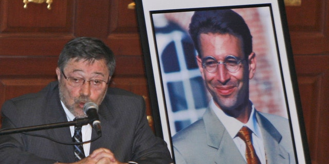 In this April 15, 2007, file photo, Dr. Judea Pearl, father of American journalist Daniel Pearl, who was killed by terrorists in 2002, speaks in Miami Beach, Fla. (AP Photo/Wilfredo Lee, File)