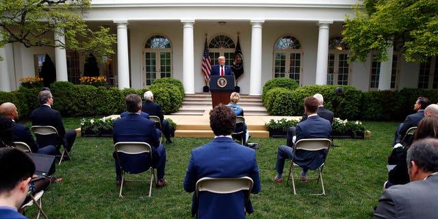 President Donald Trump speaks about the coronavirus in the Rose Garden of the White House, Tuesday, April 14, 2020, in Washington. (AP Photo/Alex Brandon)
