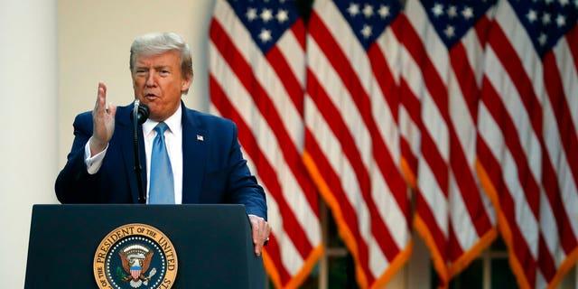 President Donald Trump speaks about the coronavirus in the Rose Garden of the White House, Wednesday, April 15, 2020, in Washington. (AP Photo/Alex Brandon)