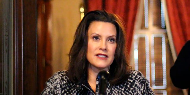 Michigan Gov. Gretchen Whitmer speaks in Lansing, Mich., April 13, 2020. (Associated Press)