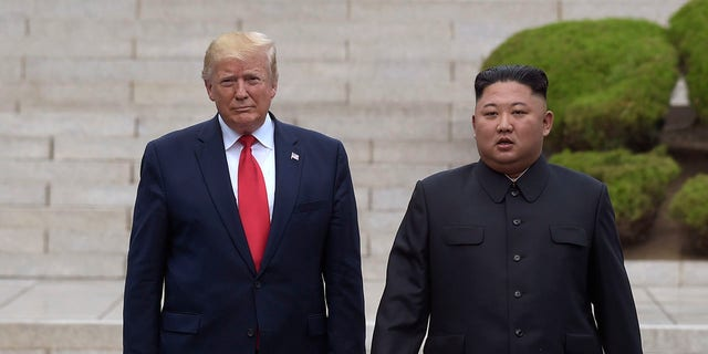 President Trump, left, meets with North Korean leader Kim Jong Un at the North Korean side of the border at the village of Panmunjom in Demilitarized Zone on June 30, 2019.<br> (AP Photo/Susan Walsh, File)