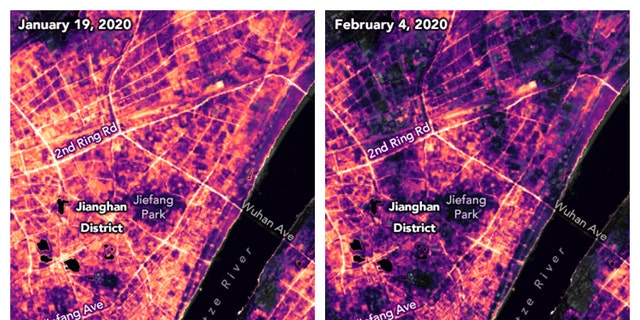 These satellite images made available by NASA show lighting changes in Jianghan District, a commercial area of Wuhan, China and nearby residential areas on Jan 19, before the COVID-19 quarantine, and Feb 4, during the quarantine. (Joshua Stevens, Ranjay Shrestha/NASA, Suomi National Polar-orbiting Partnership, U.S. Geological Survey via AP)