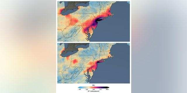 These maps made available by NASA shows the average concentration of nitrogen dioxide in March as people stay home against the COVID-19 coronavirus. NO2 is a noxious gas emitted by motor vehicles, power plants, and industrial facilities. (NASA via AP)