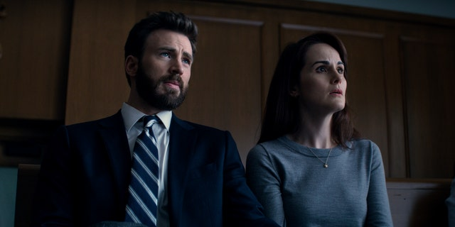 Chris Evans (L) and Michelle Dockery (R) in a scene from 'Defending Jacob.'