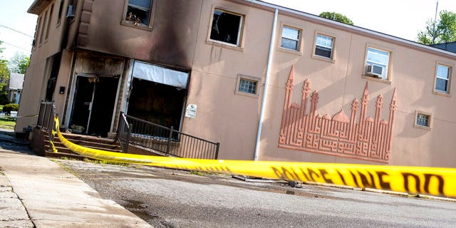 This Friday, April 24, 2020 photo shows damage to the Islamic Center of Cape Girardeau, Mo. after a fire.?