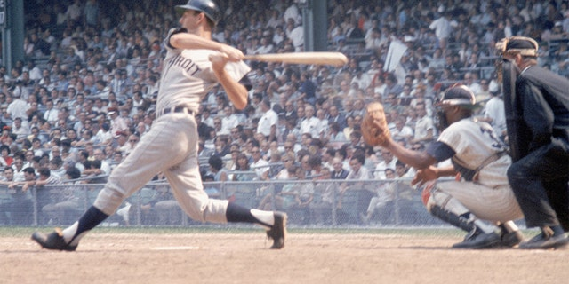 Al Kaline of the Detroit Tigers swings at a pitch during a game. Kaline played for the Tigers from 1953-1974. (Photo by Louis Requena/MLB via Getty Images)
