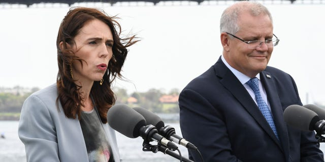 """Australian Prime Minister Scott Morrison (right), seen here with New Zealand Prime Minister Jacinda Ardern during a February press conference, said in regards to the """"bubble"""" idea: """"If there is any country in the world with whom we can reconnect with first, undoubtedly that's New Zealand."""""""