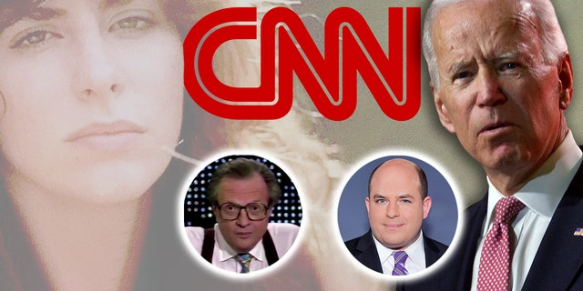 CNN's Brian Stelter, center right, is facing criticism for his response to the sexual-assault claim from Tara Reade, far left, against then-Sen. Joe Biden, far right. Reade's mother apparently called the CNN talk show hosted by Larry King, center left, decades ago.
