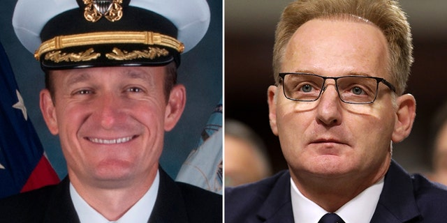 "Navy Secretary Thomas Modly, right, said the ship's commander, Capt. Brett Crozier, left, ""demonstrated extremely poor judgement"" in the middle of a crisis. (AP)"