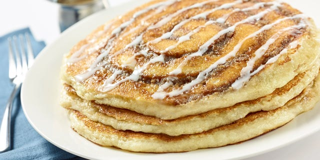 The cinnamon roll pancakes were among the featured recipes.