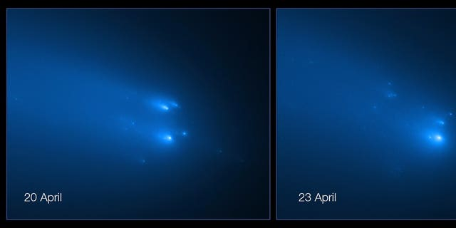 The NASA/ESA Hubble Space Telescope captured images of the breakup of Comet C/2019 Y4 (ATLAS).