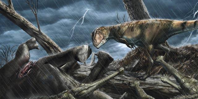 The giant predatory dinosaur Carcharodontosaurus eyes a group of Elosuchus - crocodile-like hunters - near a carcass.