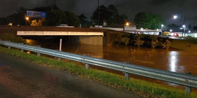 Flash flooding was reported in Hattiesburg, Miss. due to the severe storms.