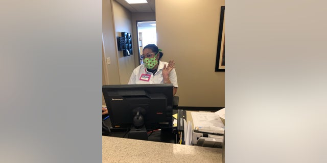 Health care worker wears masks provided by 'Sewing Masks for Atlanta hospitals'