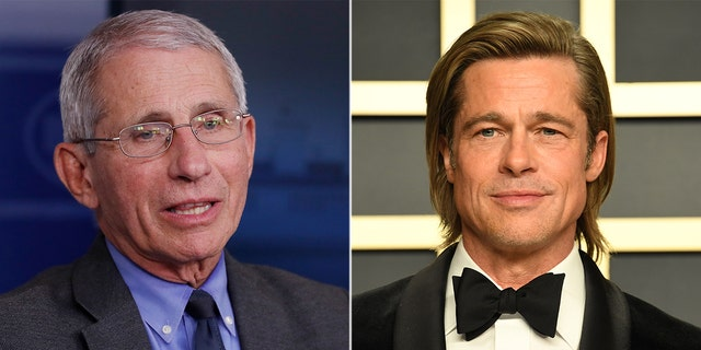 Dr. Anthony Fauci (left) and actor Brad Pitt (right).