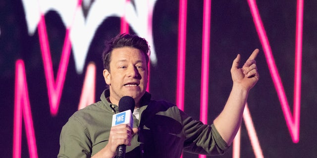 Jamie Oliver speaks at an event in London, England on March 4. (Jo Hale/Redferns via Getty)